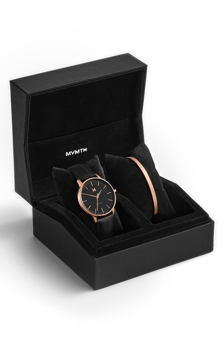 MVMT Boulevard Santa Monica Leather Strap Watch & Cuff Bracelet Set, 38mm, Main, color, BLACK/ ROSE GOLD
