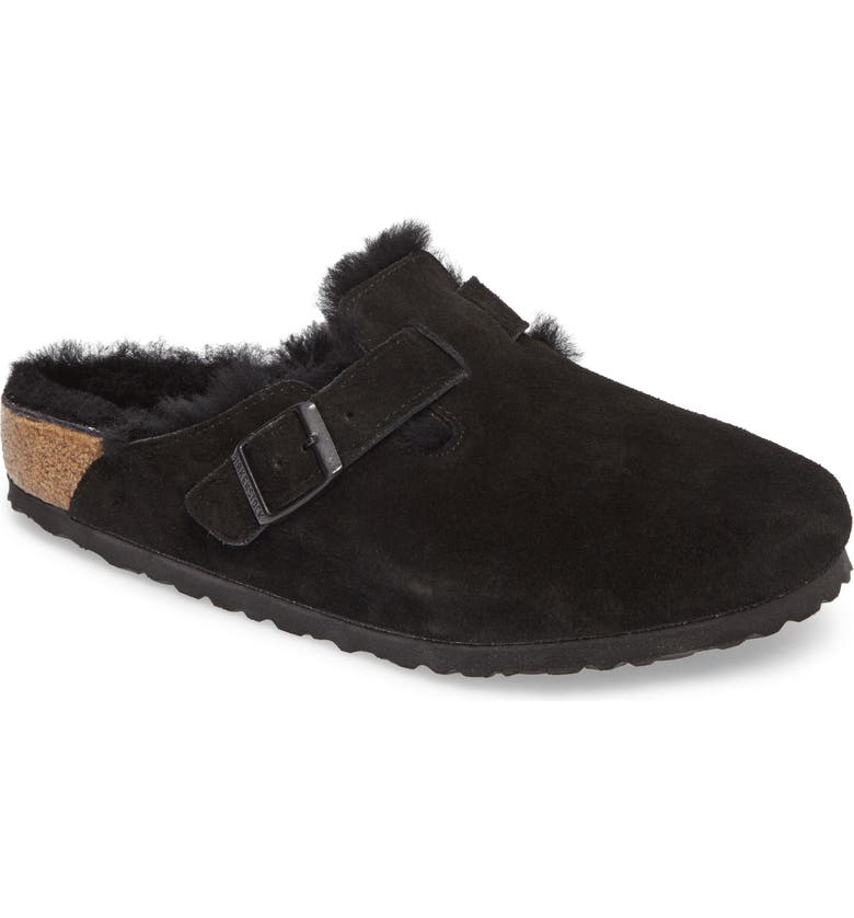BIRKENSTOCK Boston Genuine Shearling Lined Clog, Main, color, BLACK