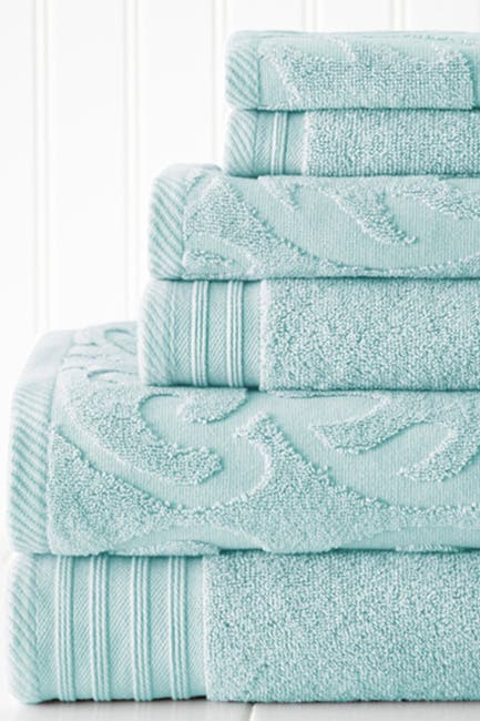 Image of Modern Threads Jacquard Medallion Swirl Solid 6-Piece Towel Set - Sterling Blue