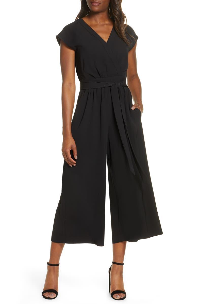 ELIZA J Faux Wrap Crop Jumpsuit, Main, color, 001