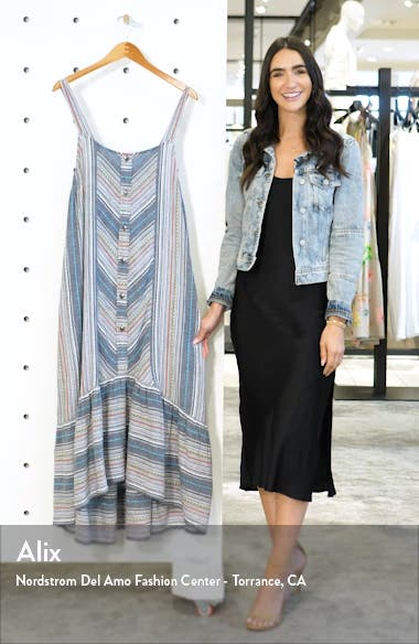 Stripe High/Low Cotton Maxi Dress, sales video thumbnail