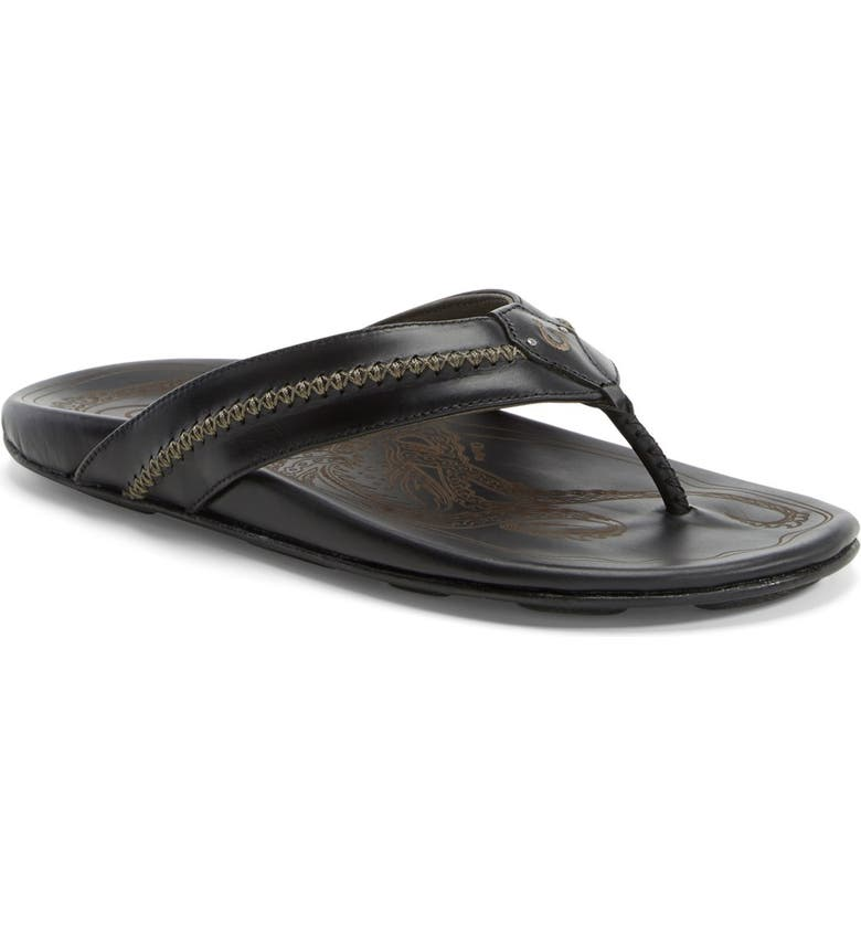 OLUKAI Mea Ola Flip Flop, Main, color, BLACK/ BLACK LEATHER