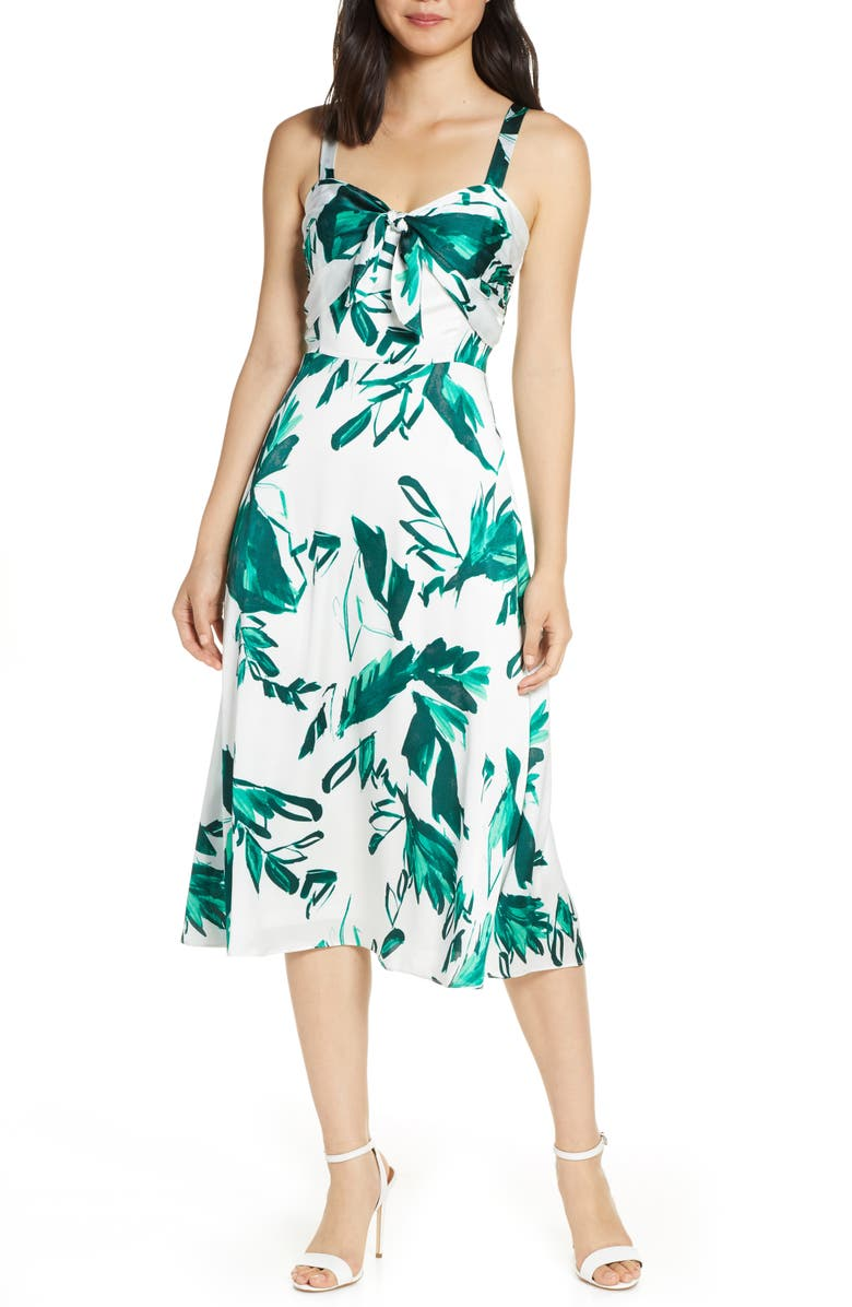 JULIA JORDAN Print Bow Front Hammered Satin Midi Dress, Main, color, 900