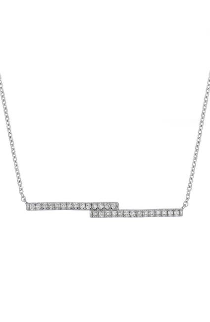 Image of Carriere Sterling Silver Pave Diamond Double-Bar Pendant Necklace - 0.11 ctw