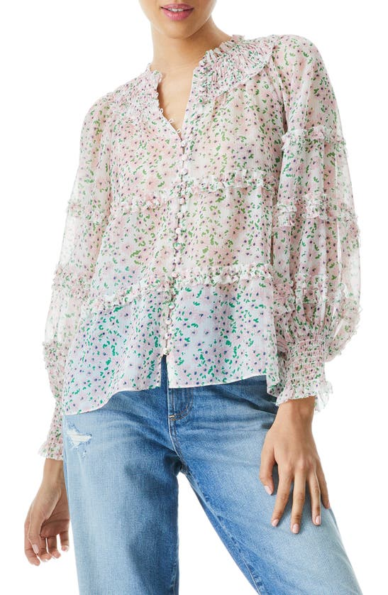 Alice And Olivia MARGERY FLORAL FRILL LONG SLEEVE BLOUSE