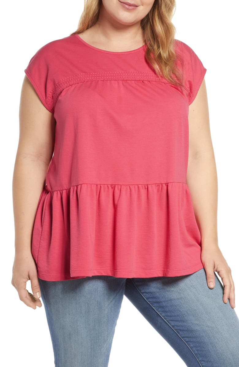 CASLON<SUP>®</SUP> Peplum Jersey Top, Main, color, RED CHATEAUX