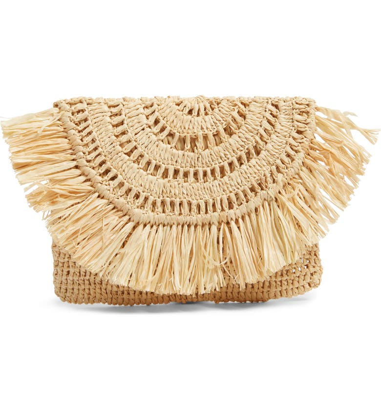 MAR Y SOL Mia Woven Raffia Clutch, Main, color, 200