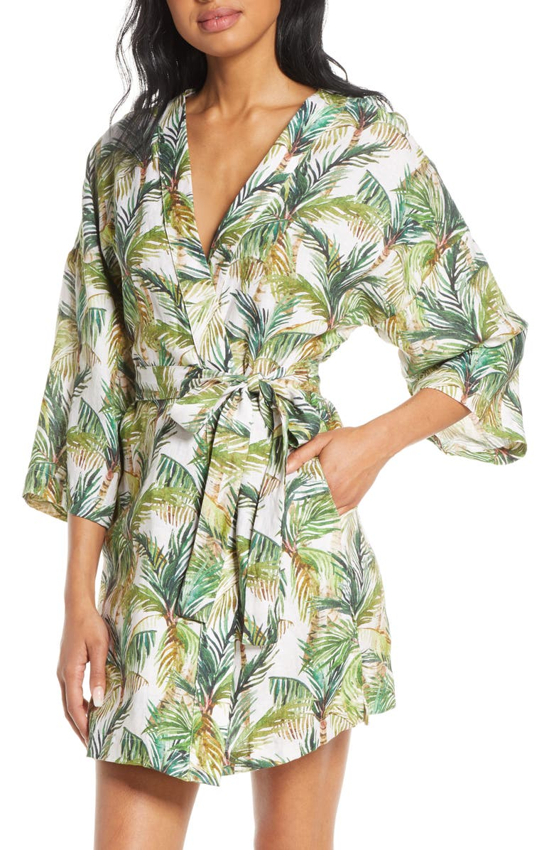 THE LAZY POET Lola Frond Print Short Robe, Main, color, BREEZY PALMS