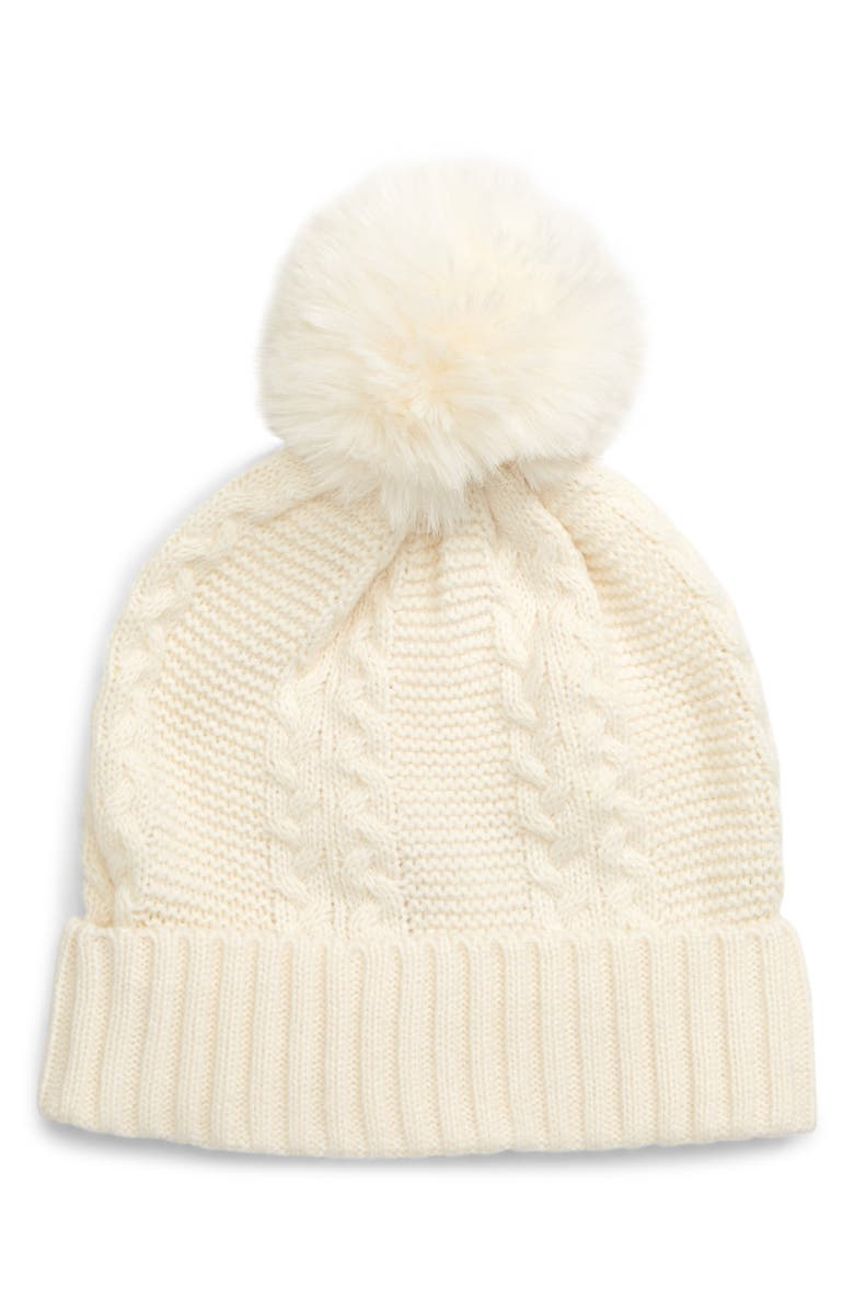 RACHEL PARCELL Faux Fur Pom Beanie, Main, color, IVORY CLOUD