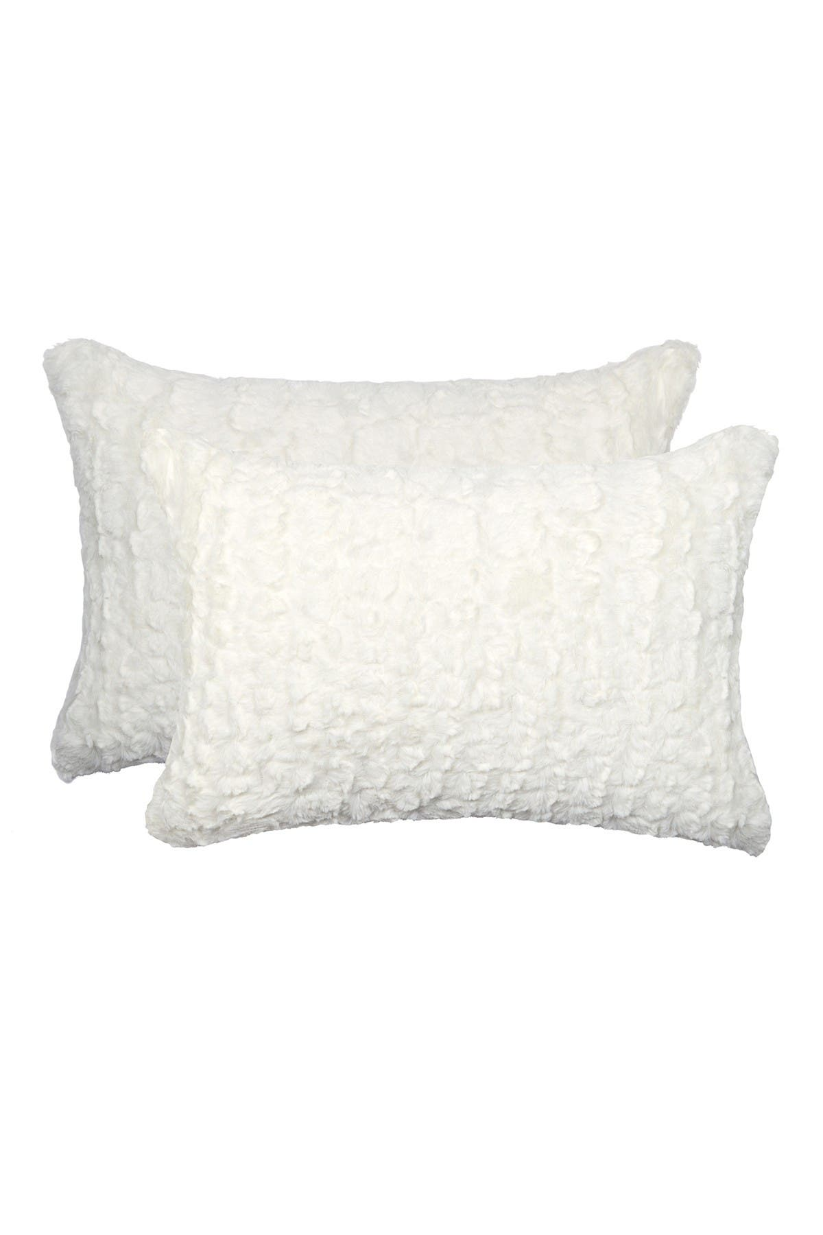 """Image of LUXE Belton Faux Fur Pillow - Set of 2 -20"""" x 12"""" - Ivory Mink"""