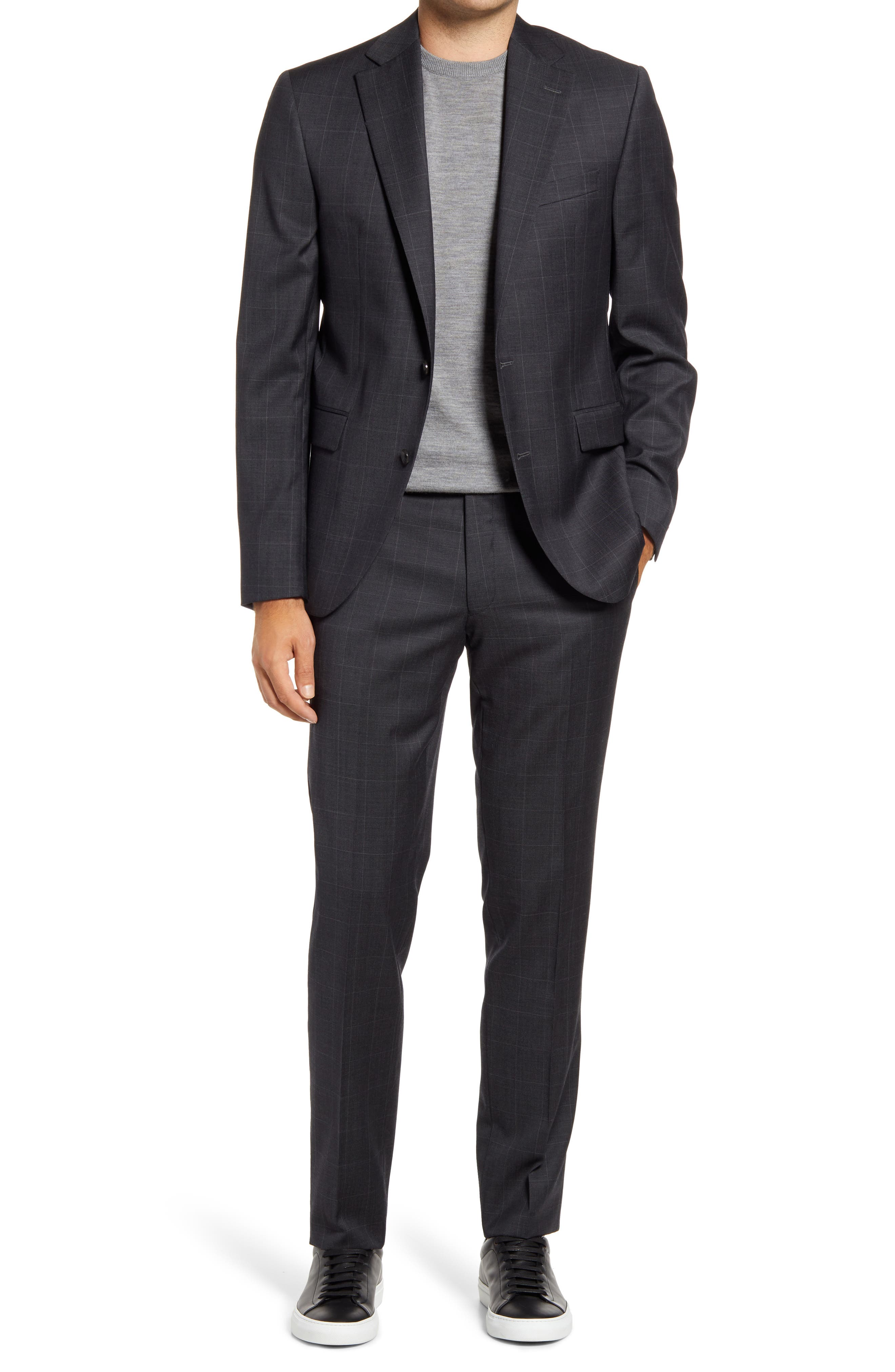 Esprit Contemporary Fit Grey Windowpane Check Wool Suit