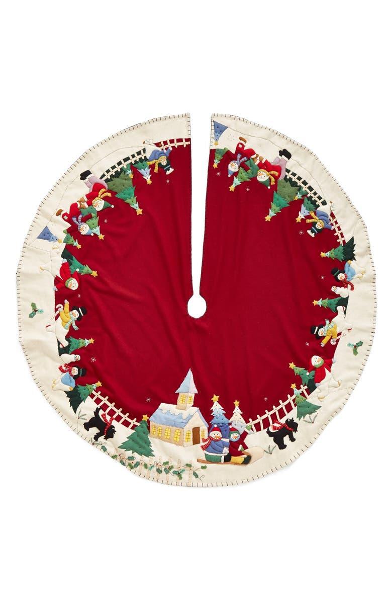 NEW WORLD ARTS 'Large Snowman Village' Christmas Tree Skirt, Main, color, 600