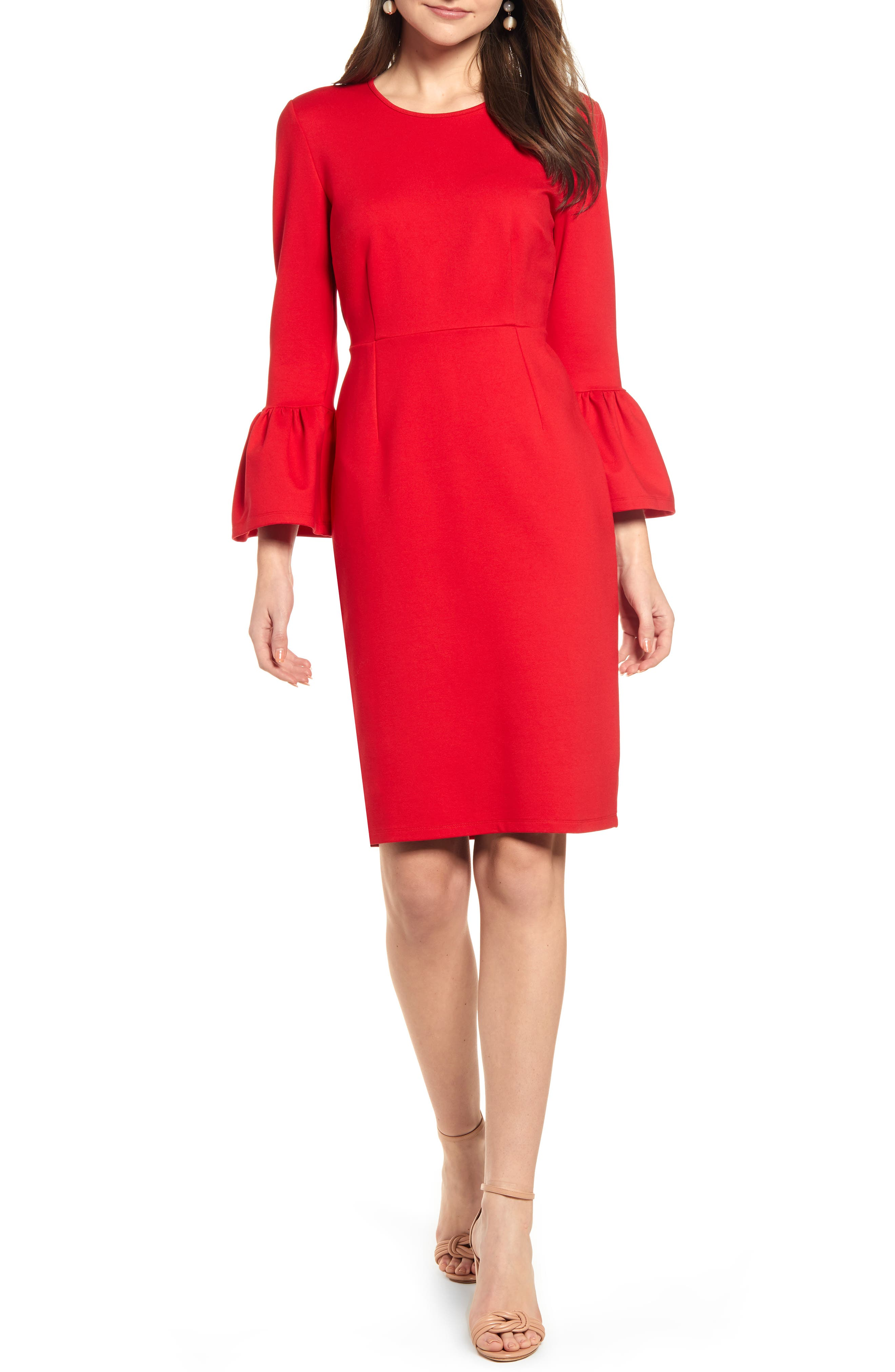 Rachel Parcell Bell Sleeve Sheath Dress, Red (Nordstrom Exclusive)
