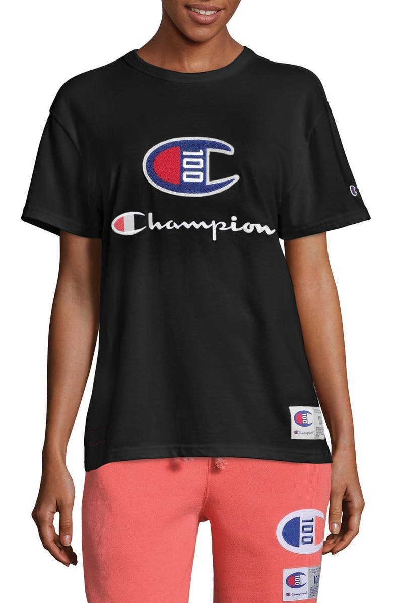 CHAMPION Century Collection Logo Tee, Main, color, BLACK