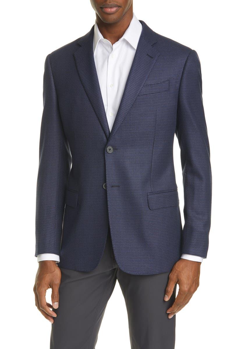 EMPORIO ARMANI G Line Trim Fit Houndstooth Stretch Sport Coat, Main, color, 424