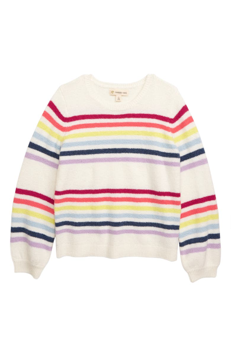 TUCKER + TATE Rainbow Stripe Sweater, Main, color, IVORY EGRET RAINBOW STRIPE