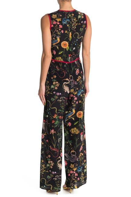 Image of RED Valentino Sleeveless Bow Trim Silk Jumpsuit