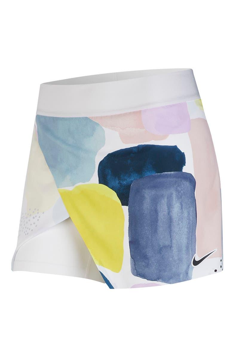 NIKE Court Faux Wrap Tennis Skirt, Main, color, WHITE/ BLACK