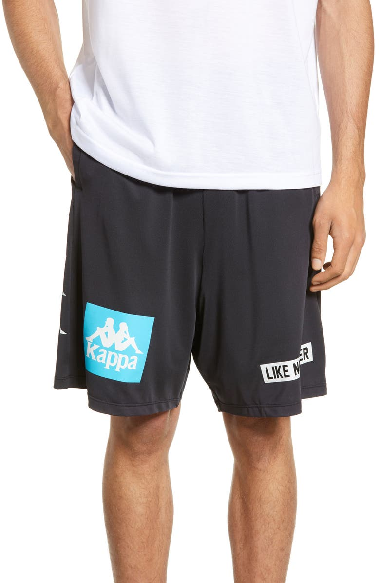 KAPPA Authentic Boax Shorts, Main, color, BLACK/ WHITE TURQUOISE