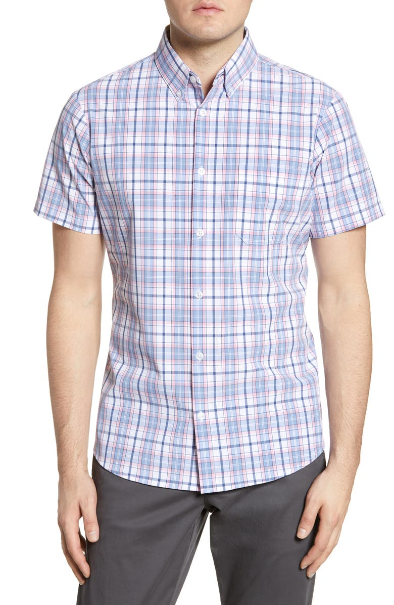 MIZZEN+MAIN Herman Trim Fit Plaid Performance Shirt, Main, color, BLUE