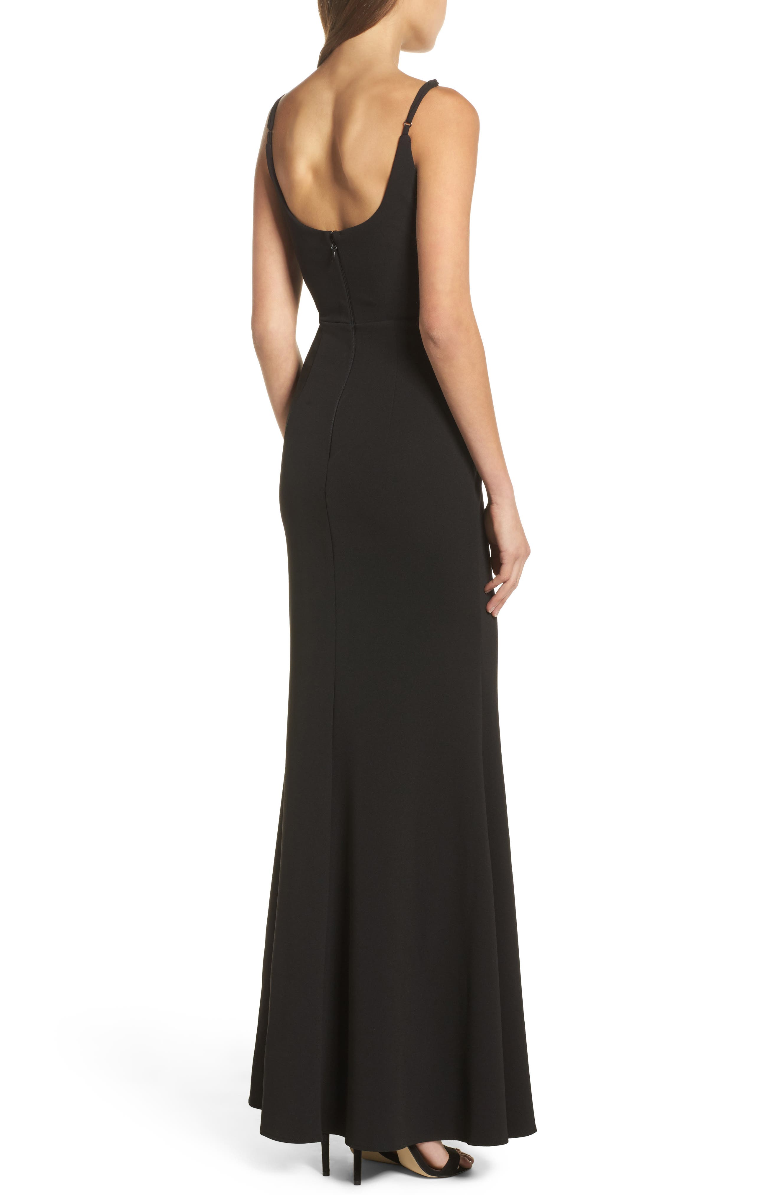 ,                             V-Neck Trumpet Gown,                             Alternate thumbnail 2, color,                             BLACK
