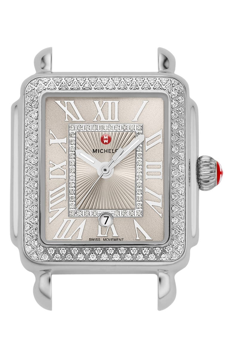 MICHELE Deco Madison Diamond Dial Watch Head, 29mm x 31mm, Main, color, SILVER/ CASHMERE