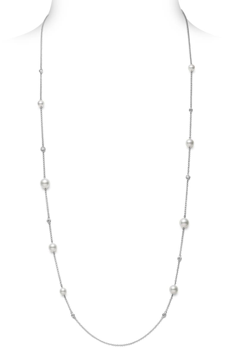 MIKIMOTO Japan Collections Pearl & Diamond Station Necklace, Main, color, WHITE GOLD/ PEARL