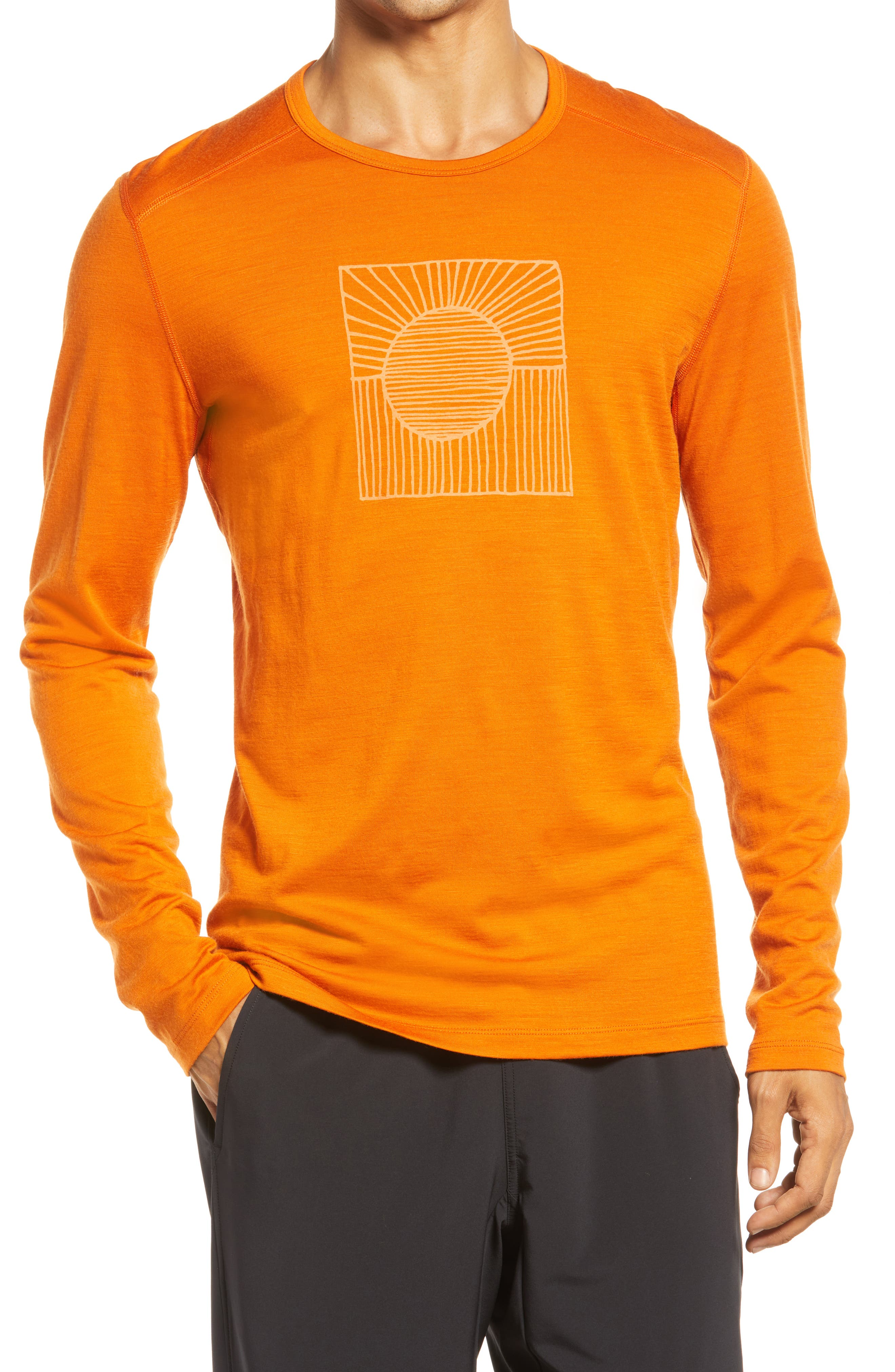 200 Oasis Long Sleeve Crewe Solar Merino Wool Graphic Tee