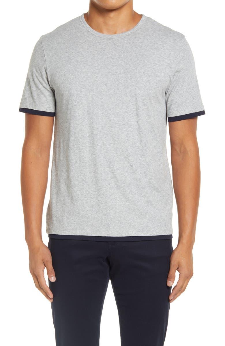 VINCE Slim Fit Double Layer Crewneck T-Shirt, Main, color, HEATHER GREY/ COASTAL