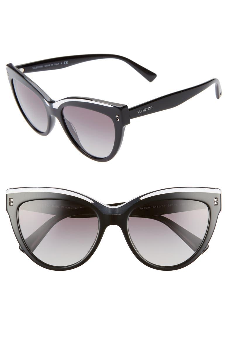 VALENTINO Rockstud 54mm Cat Eye Sunglasses, Main, color, BLACK CRYSTAL