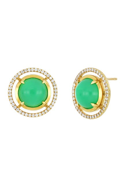 Image of Bony Levy 18K Yellow Gold Round Chrysoprase & Diamond Halo Stud Earrings