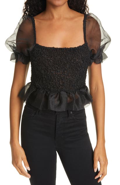 Staud CANNON ORGANZA PUFF SLEEVE CROP TOP
