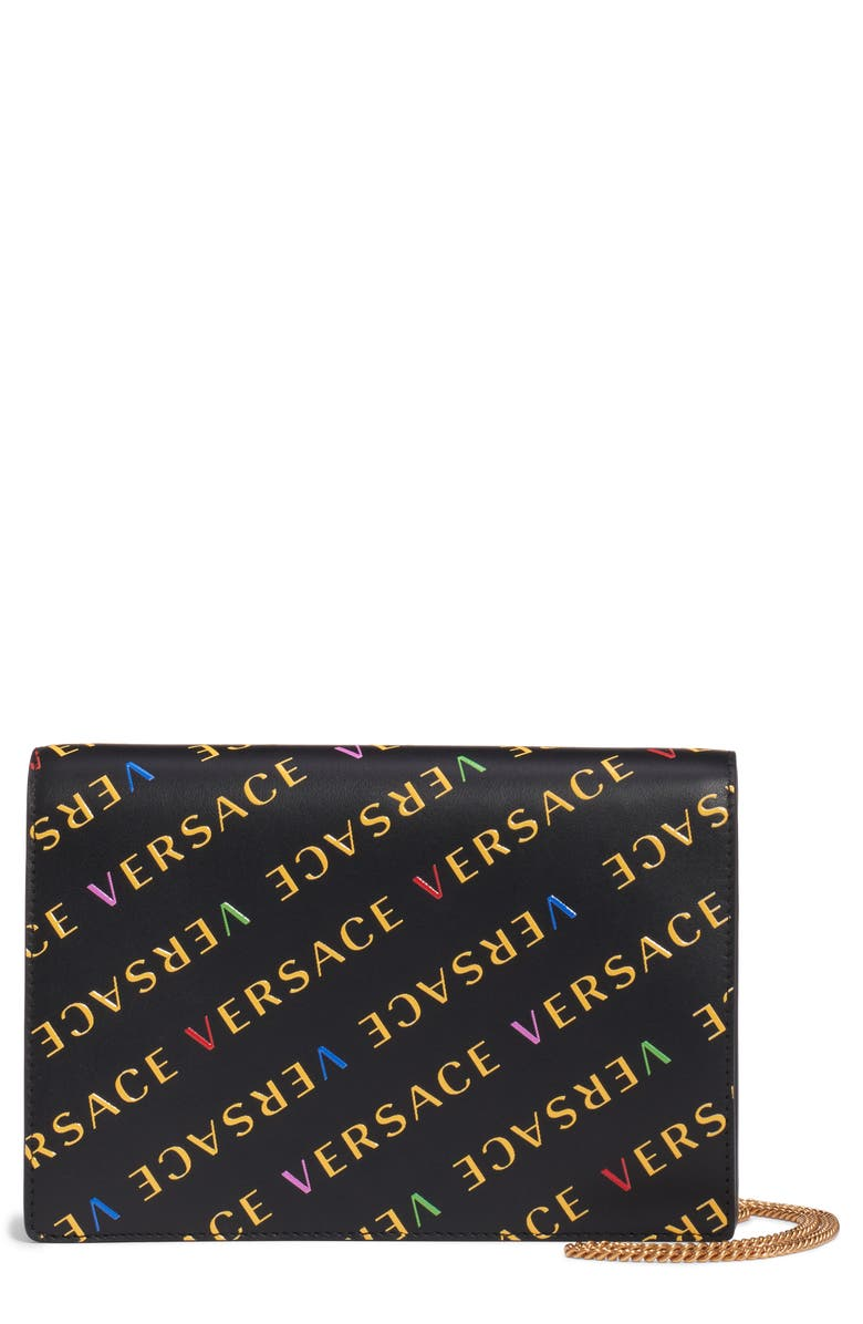 VERSACE FIRST LINE Logo Leather Wallet on a Chain, Main, color, BLACK MULTI/ WARM GOLD