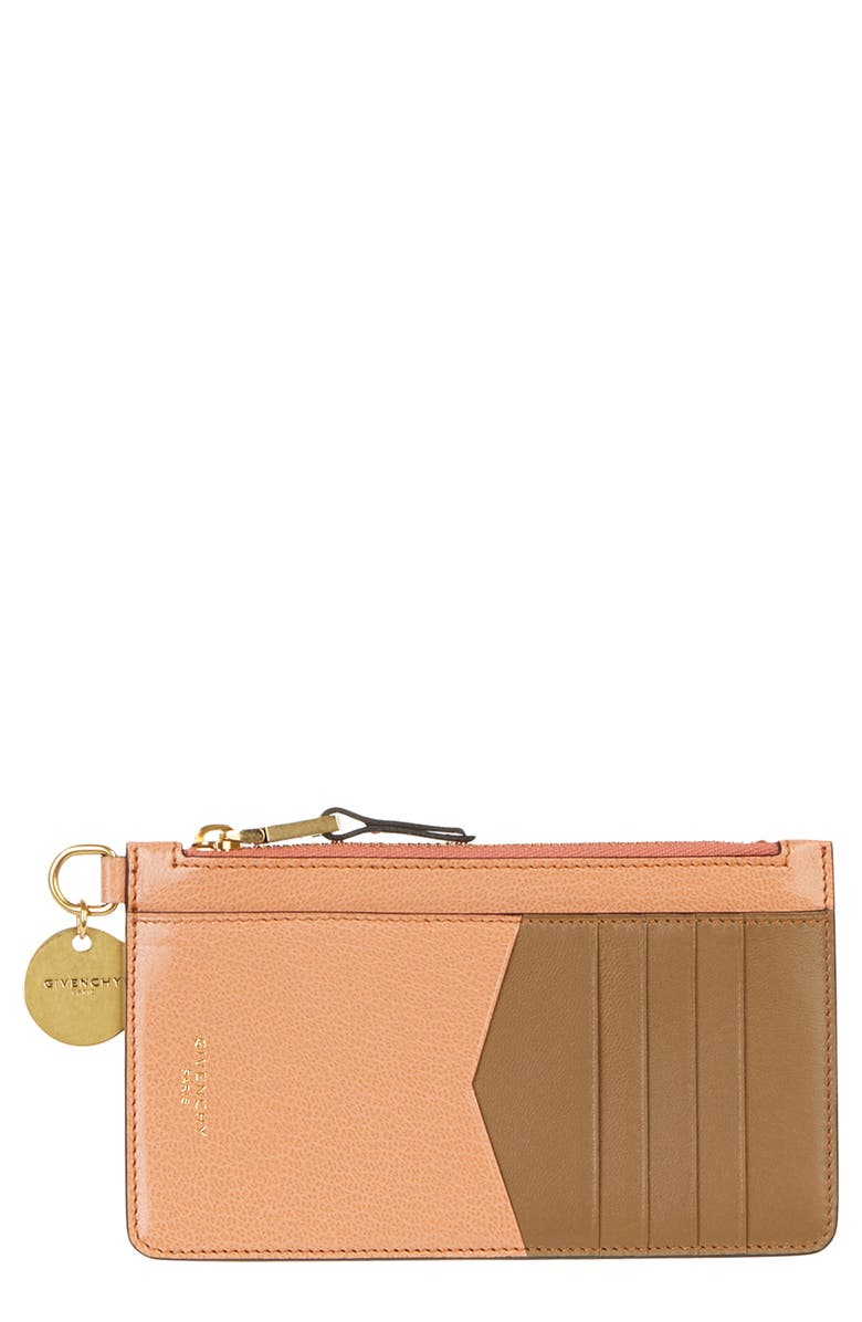 GIVENCHY GV3 Zip Card Case, Main, color, PALE CORAL/ TAUPE