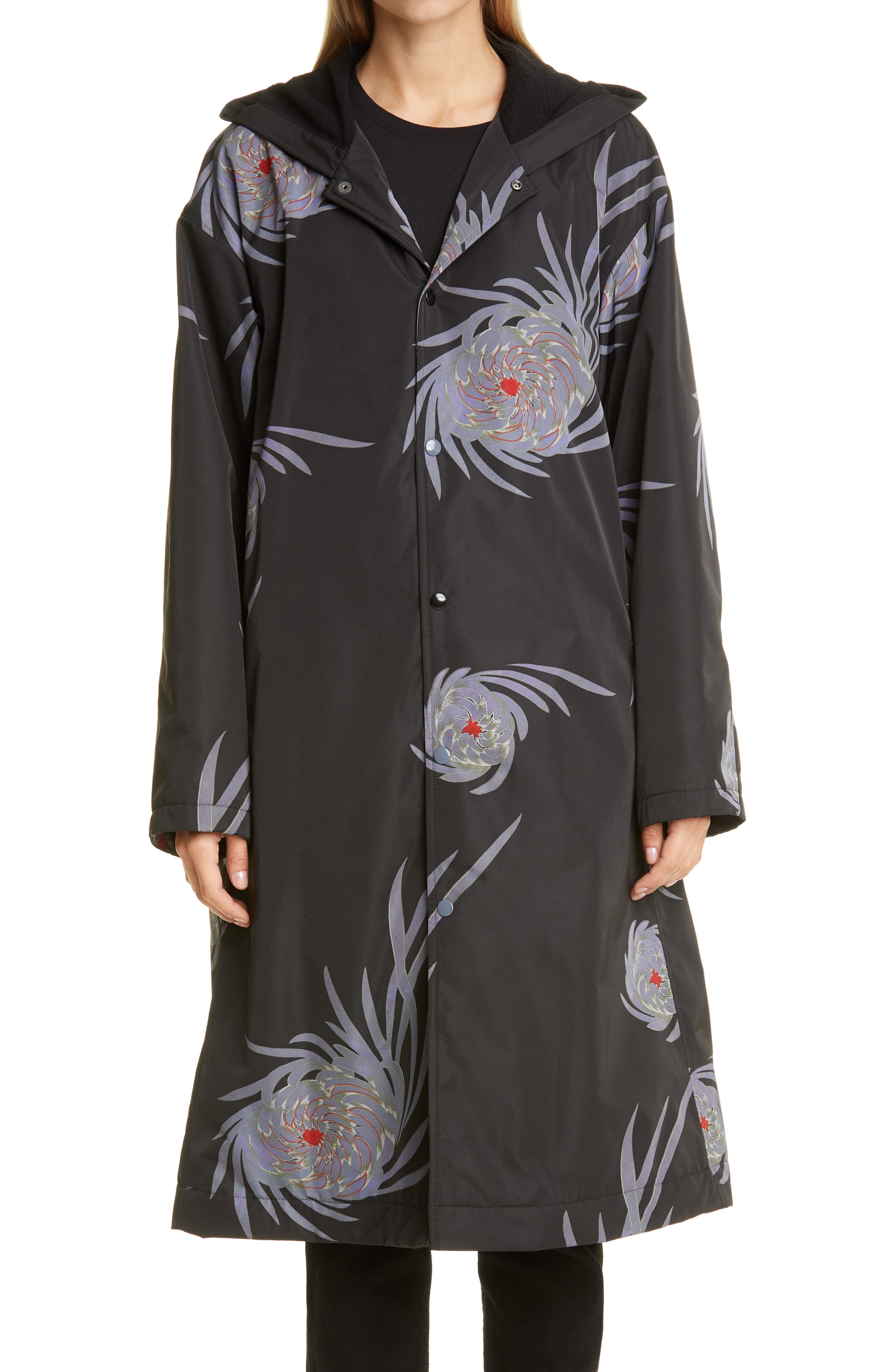Undercover Chrysanthemum Print Hooded Long Coat | Nordstrom