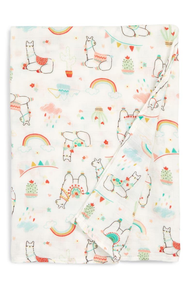 LOULOU LOLLIPOP Llama Deluxe Muslin Swaddle Blanket, Main, color, 100