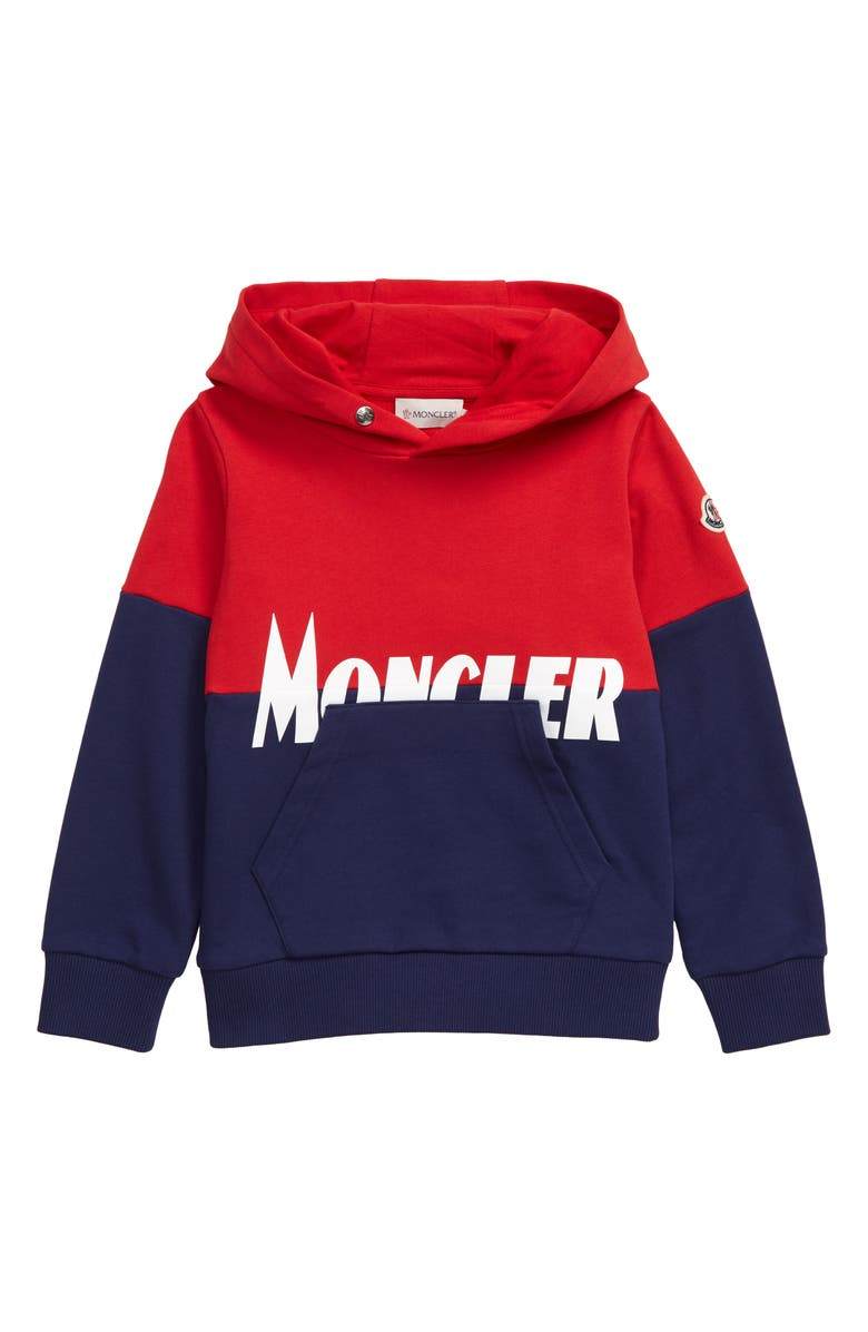 MONCLER Molleton Hoodie, Main, color, RED
