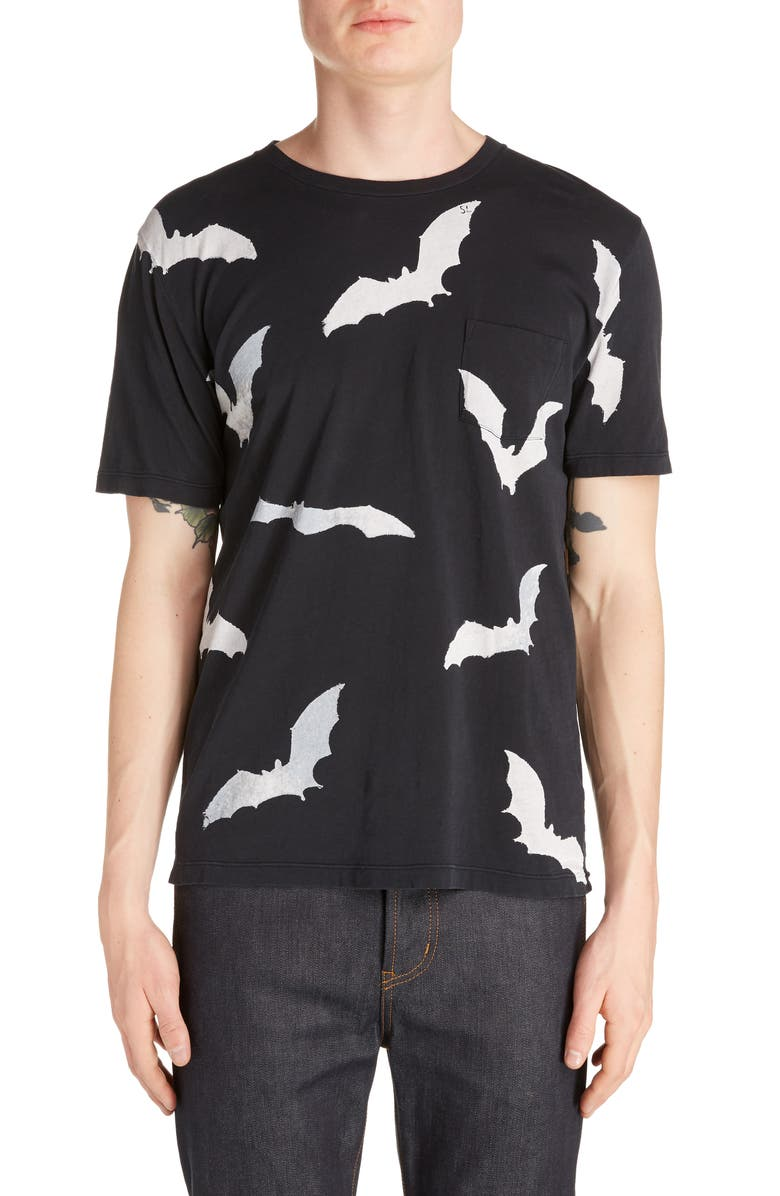 SAINT LAURENT Bat Print Pocket T-Shirt, Main, color, BLACK