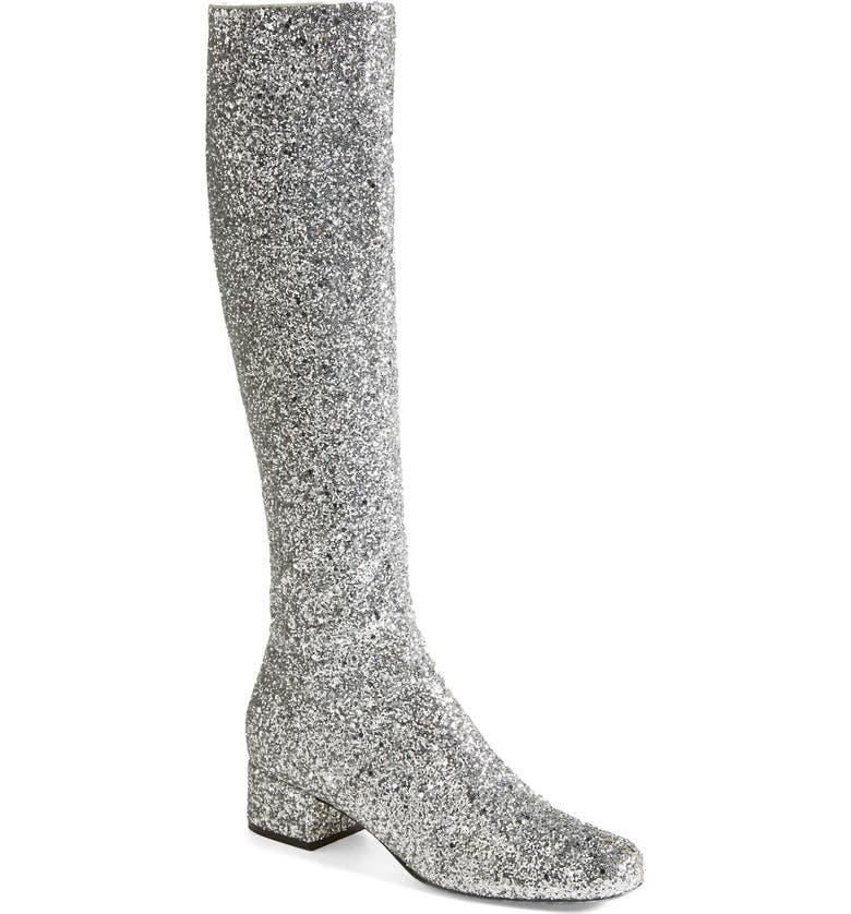 SAINT LAURENT Knee High Glitter Boot, Main, color, 040