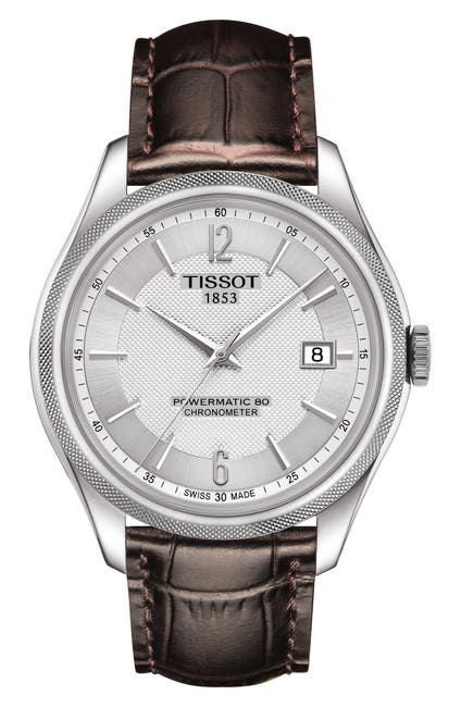 Image of Tissot Men's Ballade Powermatic 80 COSC Croc Embossed Leather Strap Watch, 39mm