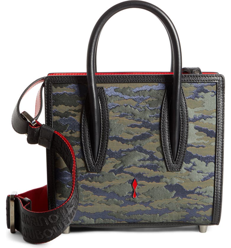 CHRISTIAN LOUBOUTIN Mini Paloma Camo Jacquard Satchel, Main, color, 300