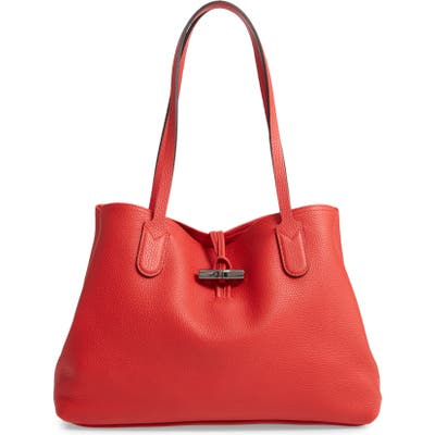 Longchamp Roseau Essential Mid Leather Tote - Red