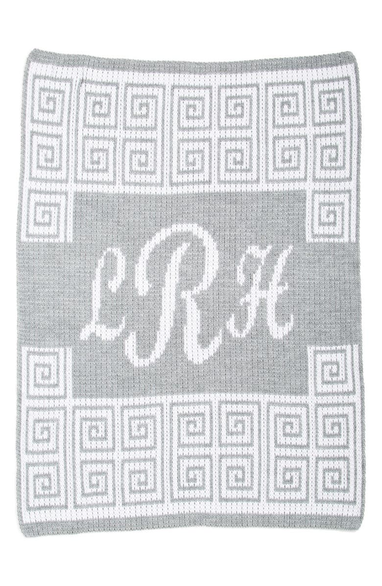 BUTTERSCOTCH BLANKEES 'Script' Personalized Blanket, Main, color, HEATHER GREY/ OFF WHITE