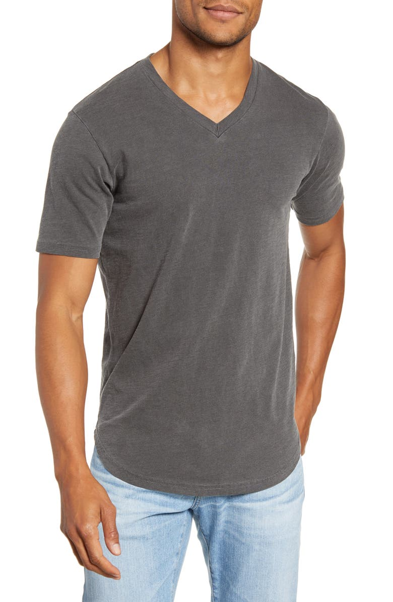 GOODLIFE Sun Faded Curved Hem Cotton Slub T-Shirt, Main, color, BLACK