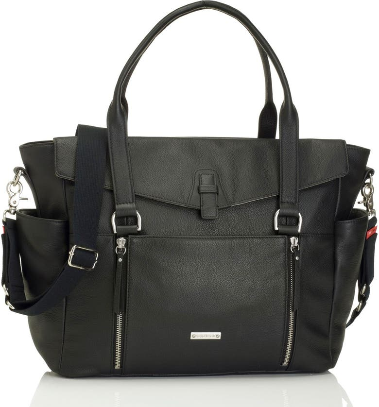 STORKSAK 'Emma' Leather Diaper Bag, Main, color, 001