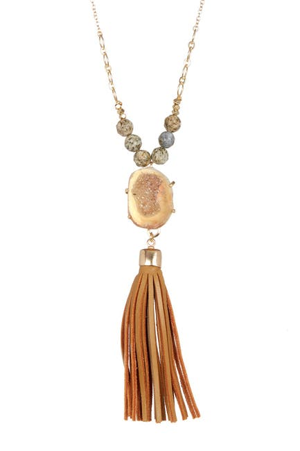 Image of Melrose and Market Geo Druzy Drop & Faux Suede Tassel Necklace