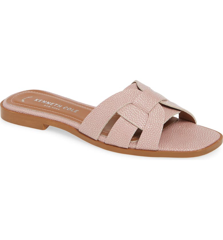 KENNETH COLE NEW YORK Austine Slide Sandal, Main, color, PALE PINK FAUX LEATHER