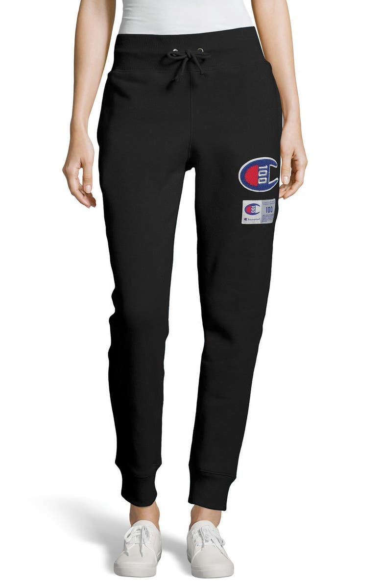 CHAMPION Century Collection Logo Jogger Pants, Main, color, 001
