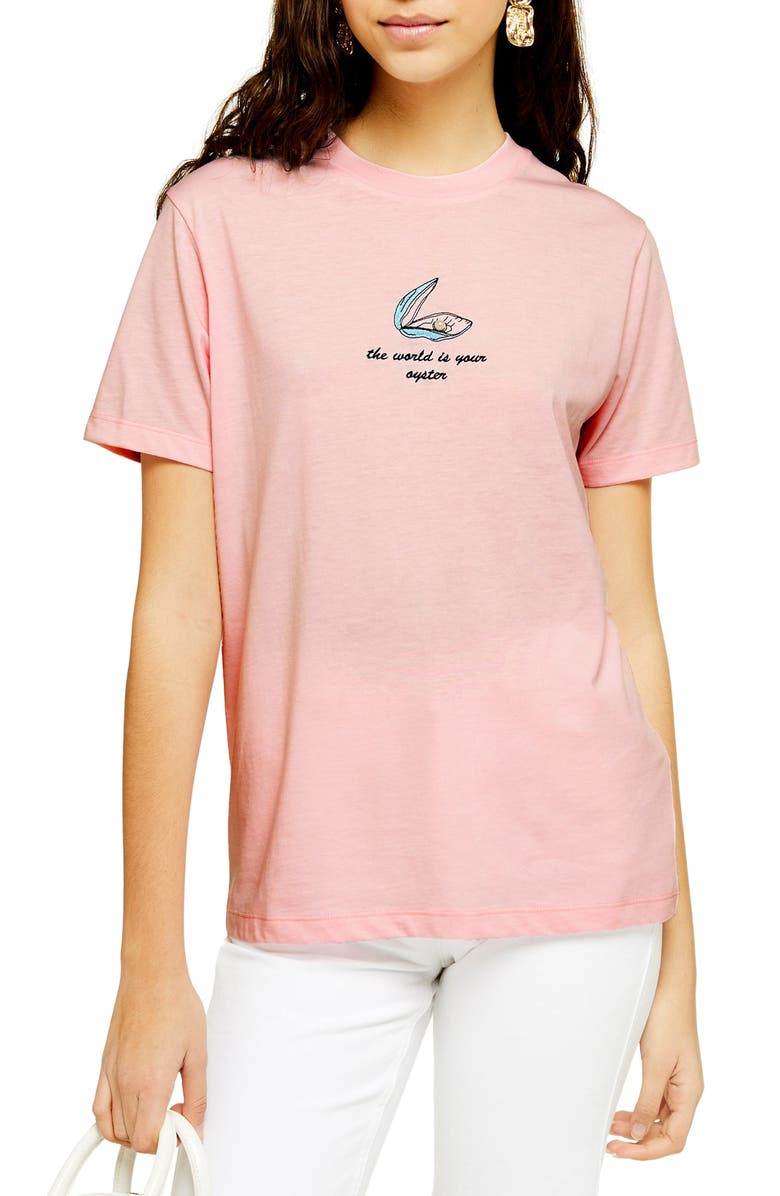 TOPSHOP By Tee & Cake World Oyster Tee, Main, color, PINK MULTI