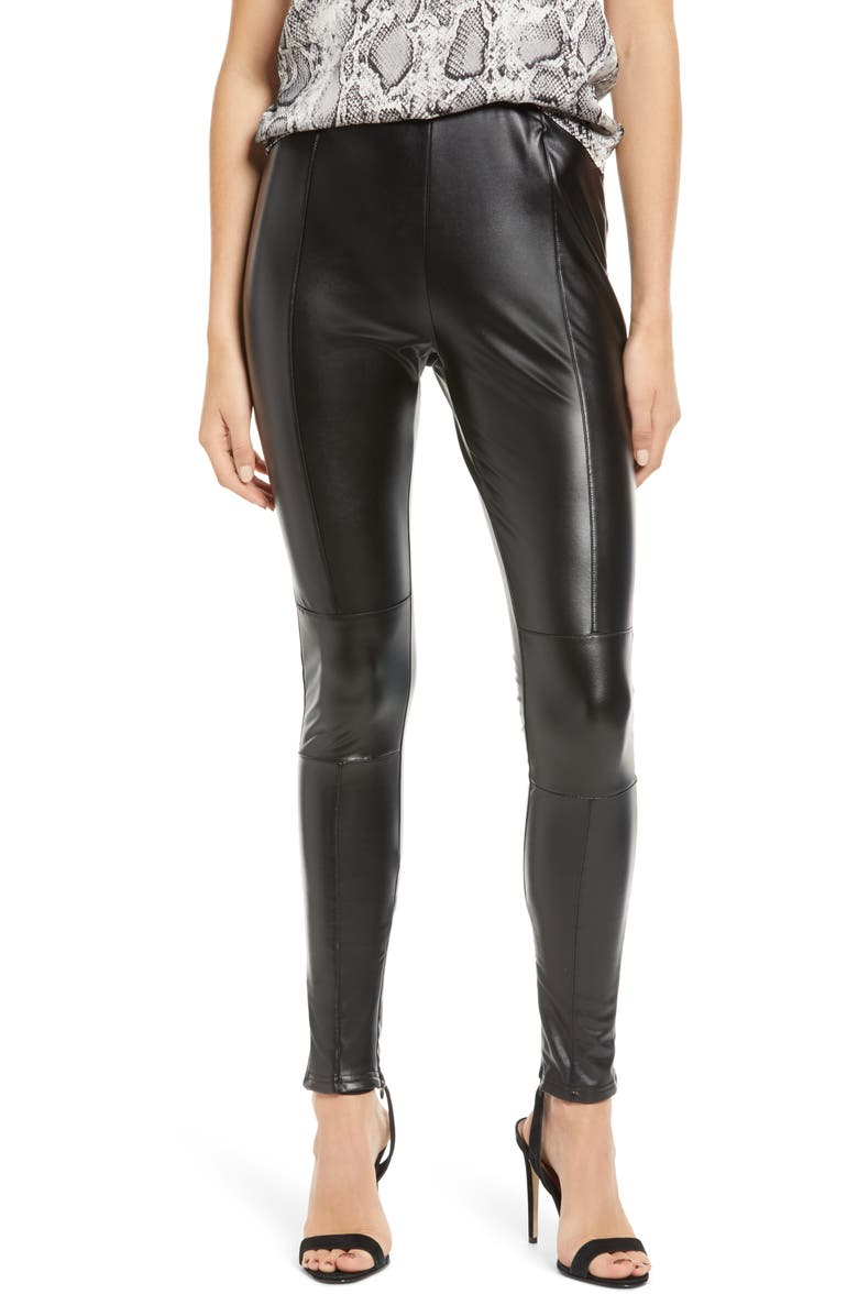 BISHOP + YOUNG Faux Leather Leggings, Main, color, CAVIAR
